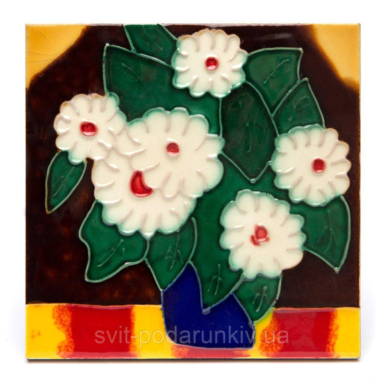 """Картина на керамике №2-1 квадратная """"Белые цветы"""""""