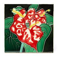 """Картина из керамики №2-2 квадратная """"Красная лилия"""""""