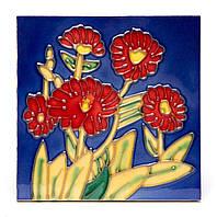 """Картина на керамике №2-5 квадратная """"Красные цветы"""""""