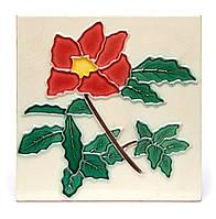 "Картина из керамики №2-6 квадратная ""Алый цветок"""