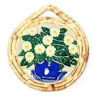 """Картина на керамике №3-2 круглая """"Белые цветы"""""""