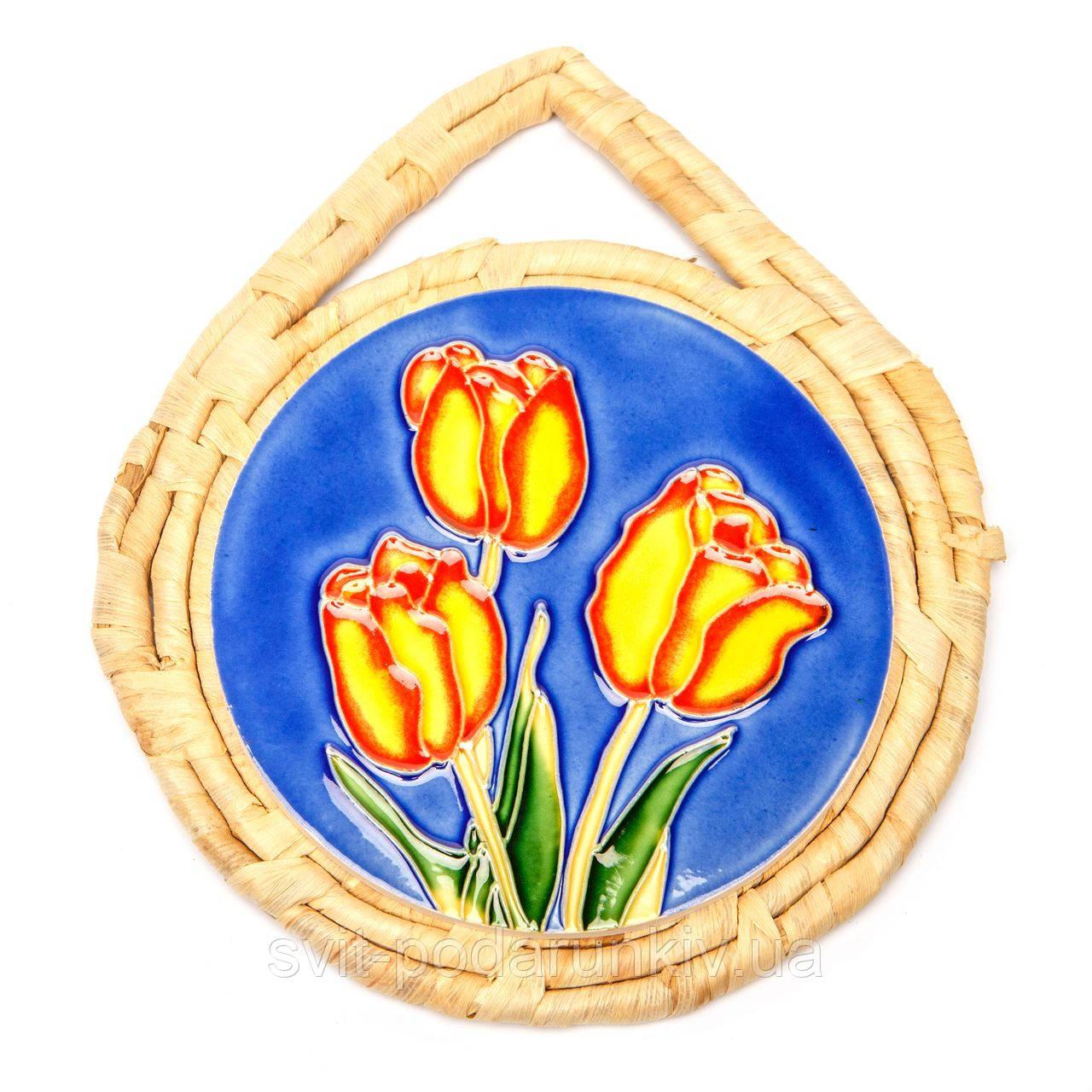 """Картина из керамики №3-3 круглая """"Тюльпаны"""""""
