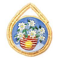 """Картина из керамики №3-6 круглая """"Цветы в красном горшке"""""""