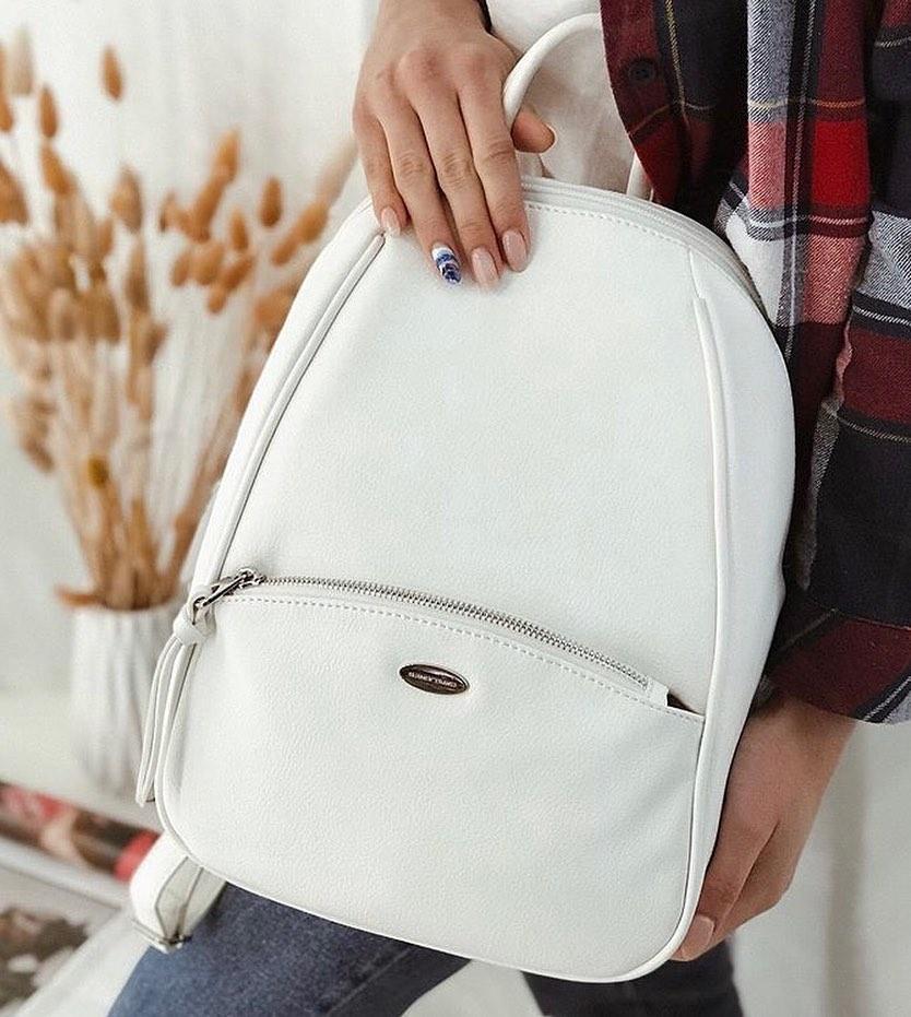 Вместительный женский рюкзак David Jones, белый городской / жіночий рюкзак білий