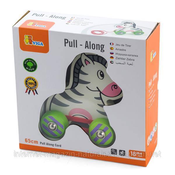Каталка Viga Toys Зебра с веревочкой (50093)