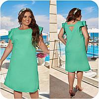 Стильное летнее платье из натурального льна, разный цвет, р.48-50,52-54,56-58,60-62,64-66 код 3357Ф