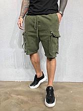 Мужские джинсовые шорты летние хаки