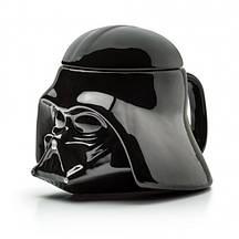 Кружка Чашка Бокал с крышкой Star Wars Дарт Вейдер Star Wars 3D  (Черная) Керамика