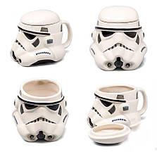 Чашка Кружка Бокал с крышкой Star Wars 3D  Штурмовик (Белая) Керамика