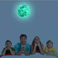 Люминесцентная наклейка луна - диаметр 20см, (впитывает свет и светится в темноте)