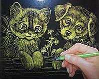 Гравюра А4 LUXE з рамкою Кот и пес Золото