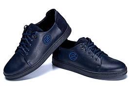 Кожин чоловічі кеди темно синього кольору на шнурівці