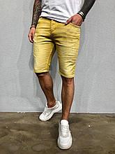 Мужские джинсовые шорты летние желтые