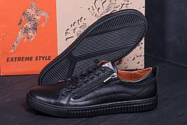 Шкіряні чоловічі кеди чорного кольору на шнурівці