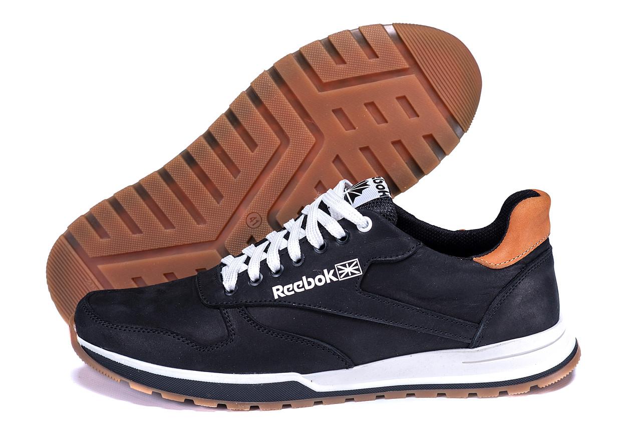 Кожаные мужские кроссовки черного цвета  Reebok Classic Leather Trail  Black (реплика)