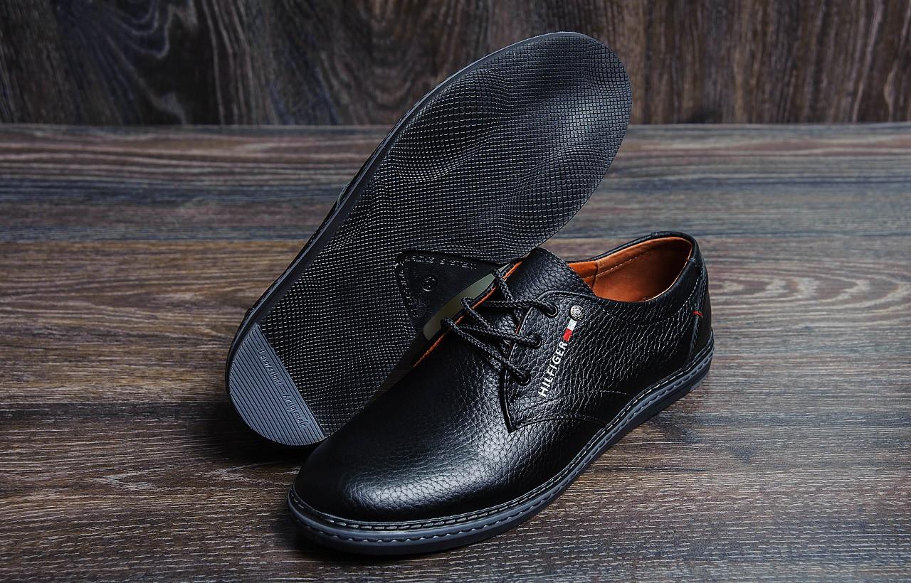 Мужские туфли  черного цвета из натуральной кожи Tommy (реплика)