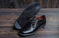 Мужские туфли  черного цвета из натуральной кожи Tommy (реплика), фото 1