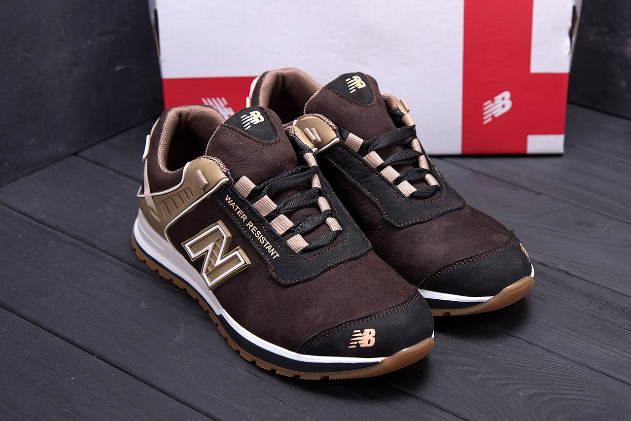Чоловічі кросівки коричневого кольору з натуральної замші NB (репліка)