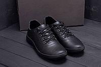 Мужские туфли спортивные черного цвета, кожаные туфли спортивные