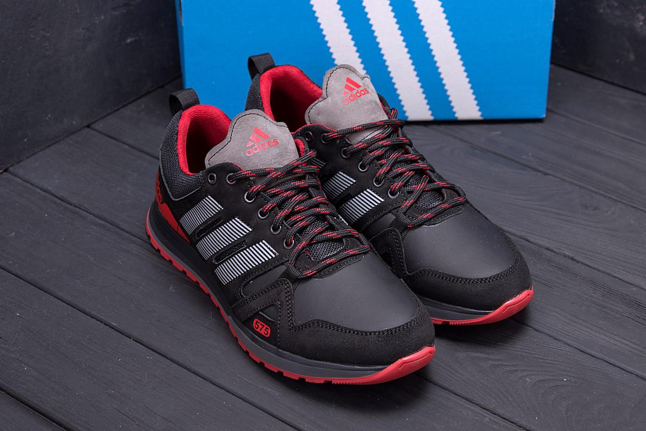 Мужские кроссовки черно красные из кожи