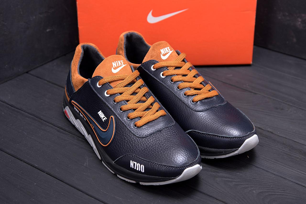 Мужские кроссовки черного цвета из натуральной кожи Nike (реплика)
