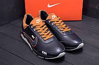 Мужские кроссовки черного цвета из натуральной кожи Nike (реплика), фото 1
