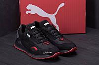 Спортивные мужские кроссовки из натуральной кожи черного с красными вставками Puma (реплика)