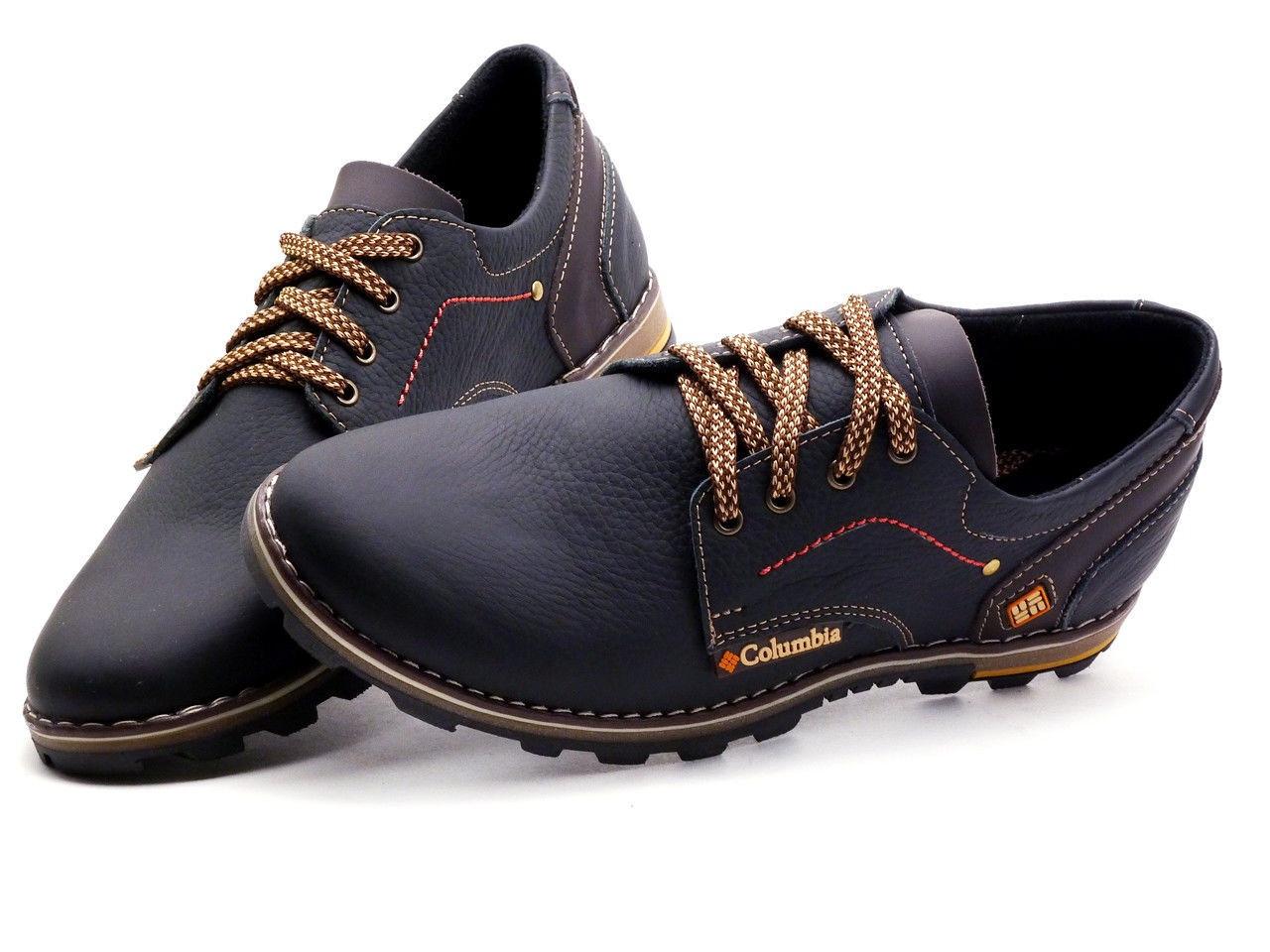 Мужские кожаные спортивные туфли черные 41 размер