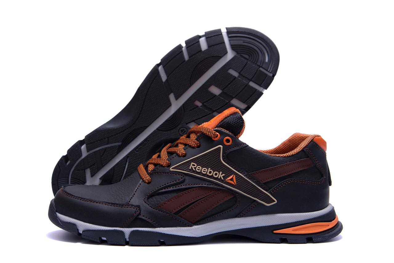 Мужские кроссовки коричневые из натуральной кожи Reebok Street Style Brown (реплика)
