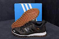 Мужские кожаные кроссовки демисезонные цвета хаки Adidas