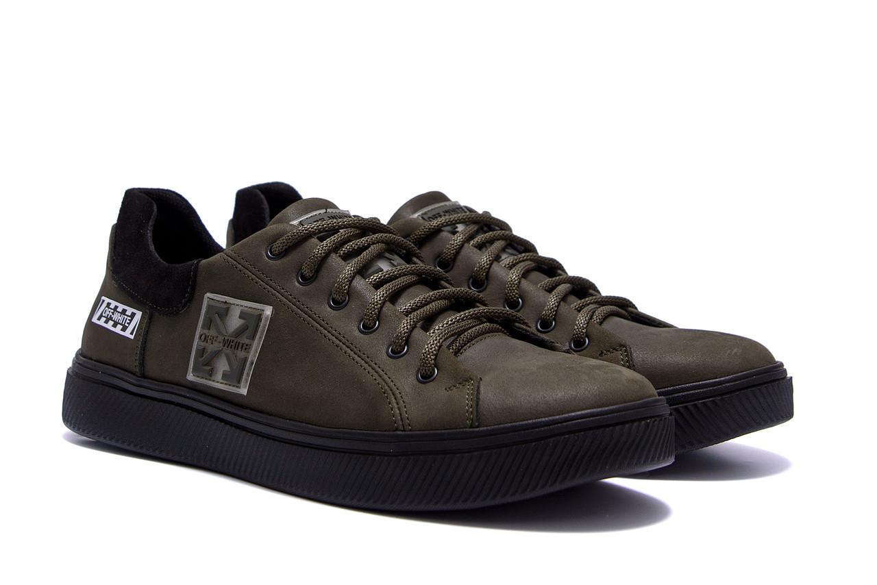 Спортивные мужские туфли, кеды кожаные для мужчин цвета хаки
