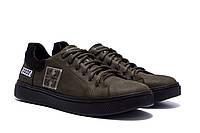 Спортивные мужские туфли, кеды кожаные для мужчин цвета хаки, фото 1