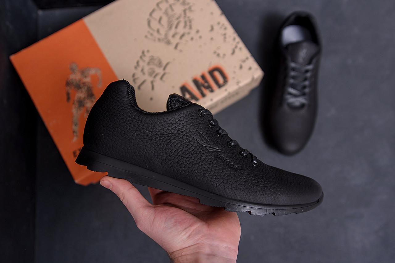Мужские кроссовки черные в натуральной коже