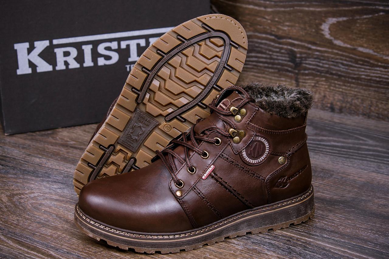 Зимние мужские ботинки темно коричневые кожаные