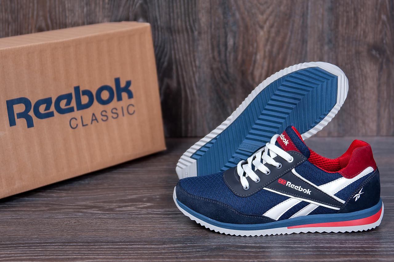 Мужские кроссовки Reebok (реплика), летние мужские дышащие кроссовки темно синие