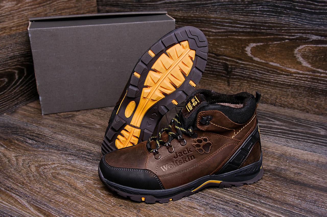 Зимние мужские кожаные ботинки коричневого цвета Jack Wolfskin (реплика)