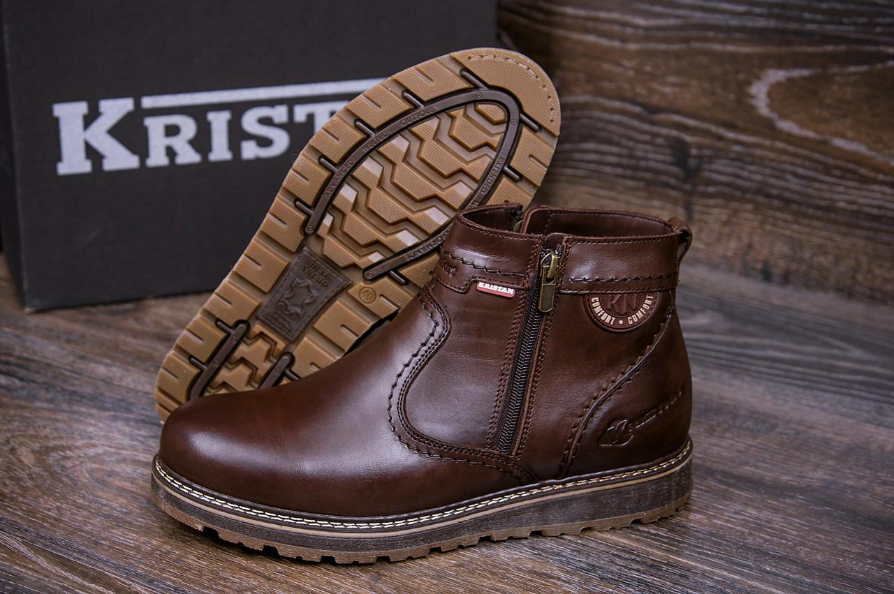 Зимние мужские ботинки кожаные коричневые