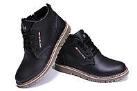 Зимние мужские кожаные ботинки черного цвета Tomm (реплика), фото 1