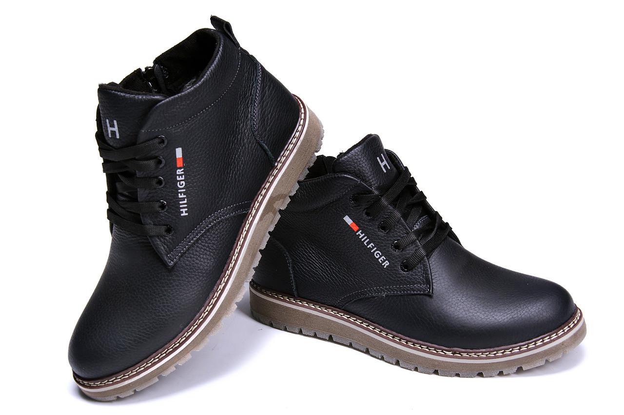 Зимние мужские кожаные ботинки черного цвета Tomm (реплика)