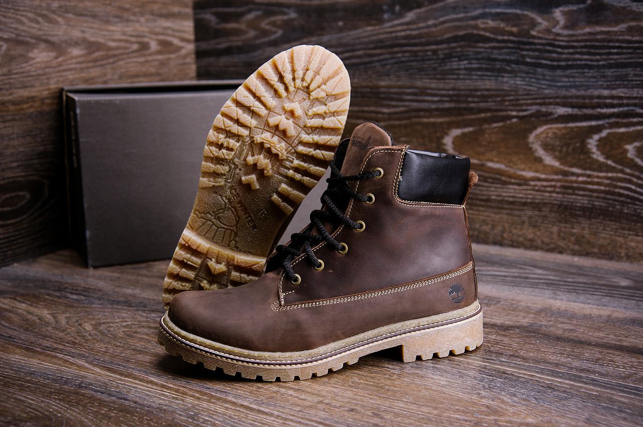 Высокие мужские ботинки темно коричневые из натуральной кожи Timderlend (реплика)