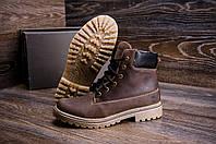Высокие мужские ботинки темно коричневые из натуральной кожи Timderlend (реплика), фото 1