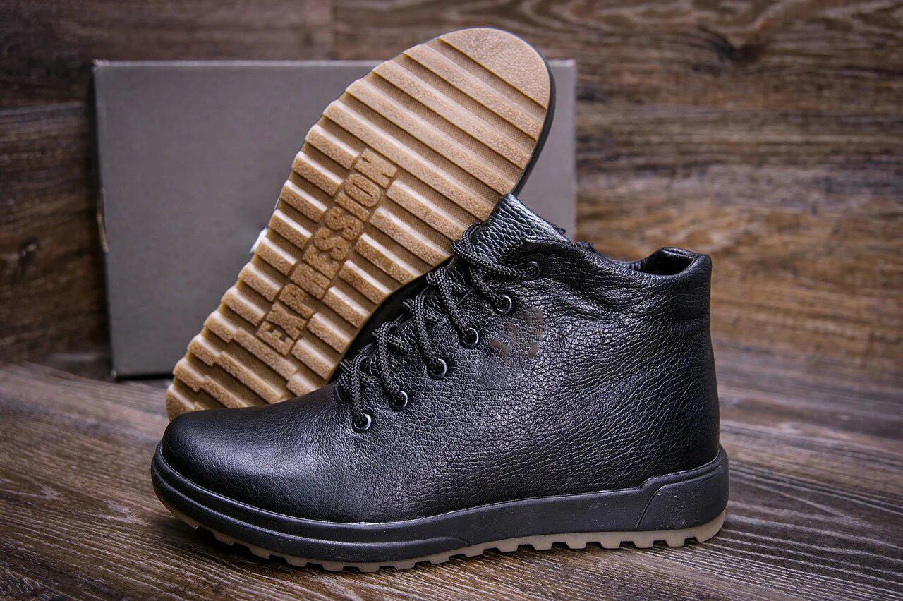 Классические мужские ботинки черного цвета с набивной шерстью кожаные