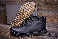 Классические мужские ботинки черного цвета с набивной шерстью кожаные, фото 1