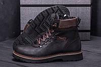 Зимние мужские сапоги, ботинки коричневые из натуральной кожи, фото 1