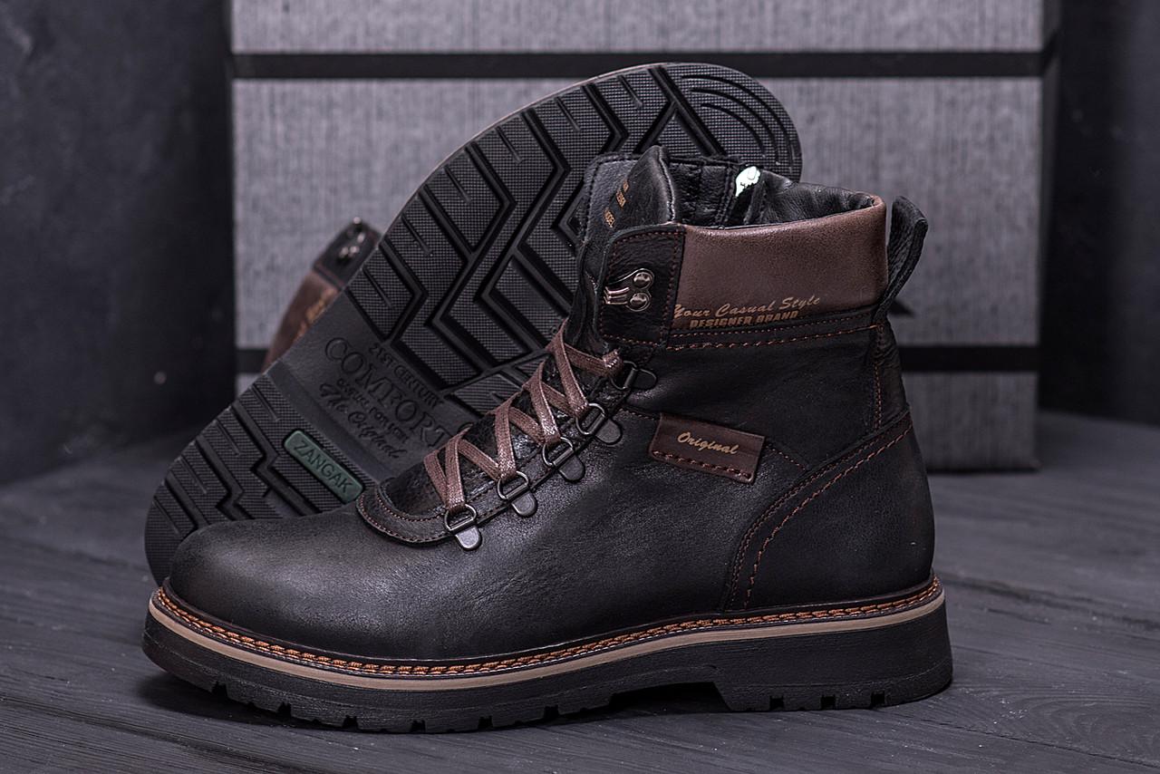Зимние мужские сапоги, ботинки коричневые из натуральной кожи