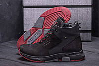 Мужские ботинки на толстой подошве черные из натуральной замши