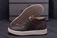 Мужские спортивные туфли, кеды из натуральной кожи коричневые