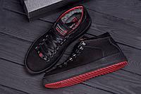 Мужские спортивные туфли, кеды из натуральной кожи черные