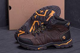 Высокие зимние мужские ботинки коричневого цвета из натуральной кожи Timderland (реплика)