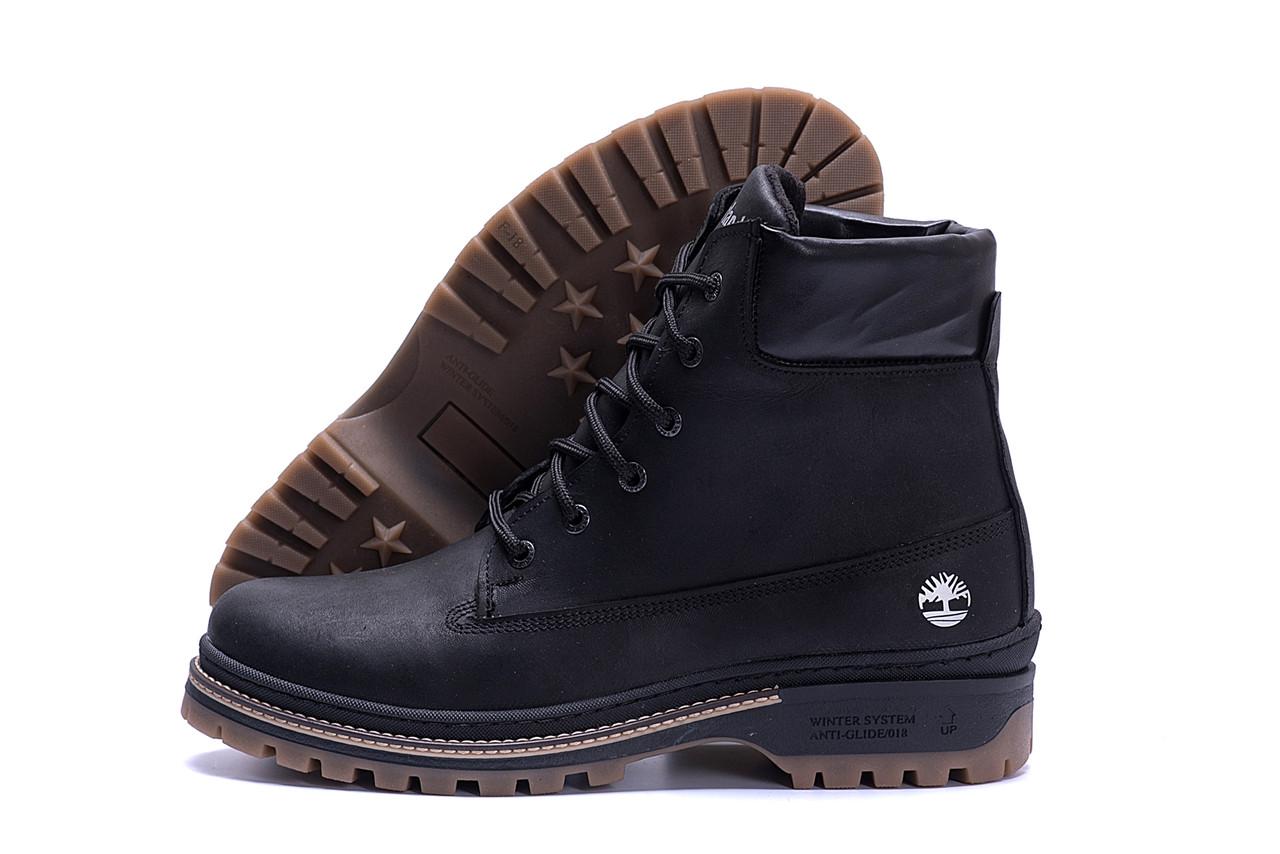 Высокие мужские ботинки из натуральной кожи черного цвета Timderlend (реплика)